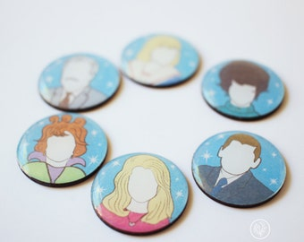 Set of 6 Bewitched Inspired Magnets. Fridge Magnets.