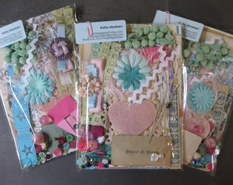 Paper and more collage kit over 90 pieces for art journals, smash books, junk journals, tags, cards, mixed media-pastel colors