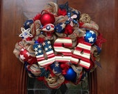 USA Patriotic Khaki Mesh Wreath