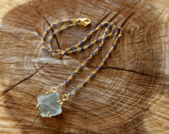 Raw Prong Set Fluorite with Iolite Beaded chain