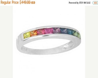 Valentines Day Sale Multicolor Rainbow Sapphire Half Eternity Band Ring 14K White Gold (1ct tw) SKU: 892-14K-Wg