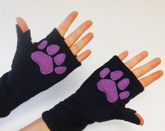 Paw Print Black Fingerless Gloves with Pockets