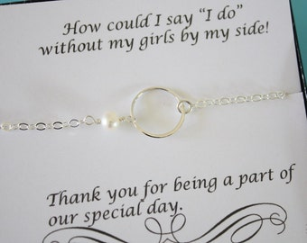 11 Karma Bridesmaids Bracelets, Bridesmaid Gifts, Eternity Jewelry, Sterling Silver Circle, Bridesmaid Thank You Card, White Pearl, Infinity