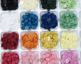 BACK AGAIN! 6mm Tiny Doll Buttons, 16 single colors or mix! 300 pcs.