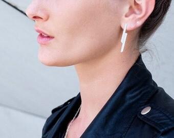 stud earrings, silver bar earrings,  Geometric parallel shapes.