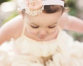 Pink baby girl headband Pale Blush peach Dupioni Silk Rosette Hand Rolled Rosette Headband with Lace, Crystals baby headband