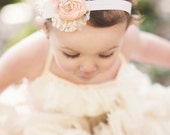 New! Pink baby girl headband Pale Blush peach Dupioni Silk Rosette Hand Rolled Rosette Headband with Lace, Crystals baby headband