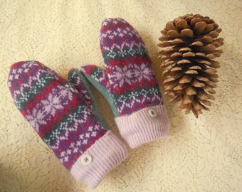 Felted Wool Mittens Child XSmall Purple Pink Teal Design  MH68