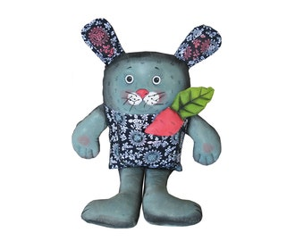 hare, bunny, rabbit painted art doll - soft sculpture