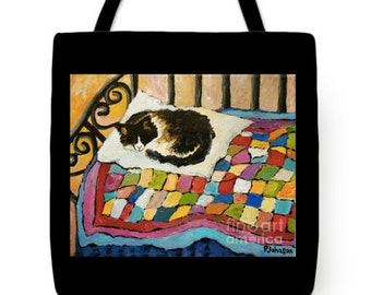 tote bag sleeping cat colorful large tote Peggy Johnson every good color