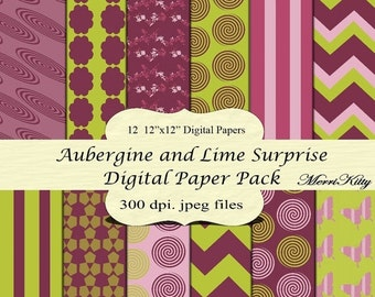 """65% OFF INSTANT DOWNLOAD - Digital Scrapbook Paper Pack - Aubergine and Lime Surprise - No.31- 12 12""""x12"""" Digital Papers - Card Making - Dig"""
