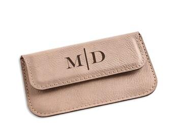 Monogrammed Ecru Leatherette Business Card Case