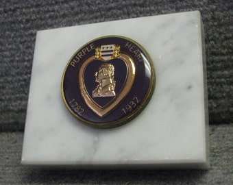 Vintage Military Purple Heart Medallion Coin Token Marble Plaque