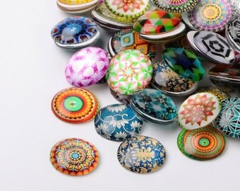 8pc 12mm mix glass cabochons -7623G