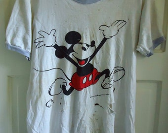 Vintage 70s MICKEY MOUSE Trashed Ringer T Shirt sz XS/S