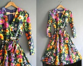 60s Floral print Wrap Effect Dress Xs - S