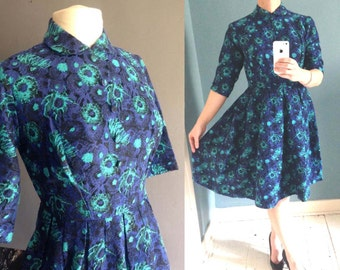 50s Cotton Dress with Peter Pan Collar