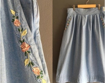 "Laura Ashley Denim Chambray Skirt with Embroidery 32"" Waist"