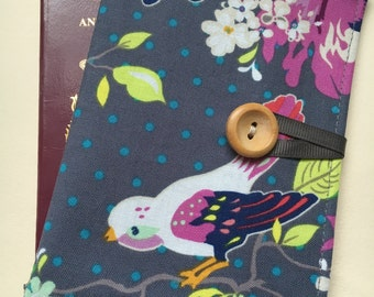 Passport cover case vintage style birdie and blooms fabric travel wallet