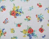 Vintage Sheet - Red Yellow Blue Floral - Full or Double Flat Sheet