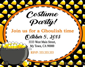 Halloween Costume Party Invitation  Printable Kids Halloween Corn Candy Party Invites Personalized Custom Orders Costume Party Invitations