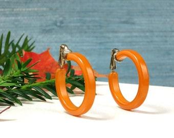 Amber Bakelite Hoop Earrings - Vintage Bakelite Clip On Hoop Earrings - TESTED, Amber Marbled Bakelite Earrings, Butterscotch Hoop Earrings