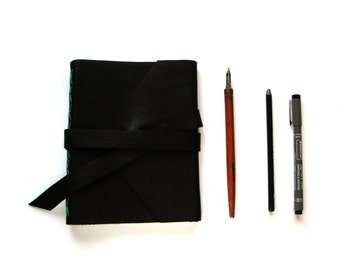 Lined Leather Journal, Leather Notebook in Black Leather with Blue stitching and Double Wrap Tie