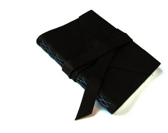 Black Leather Journal with Double Wrap Tie