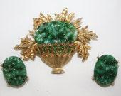 Vintage Faux Jade Brooch Set, Green Basket Brooch 1950s Jewelry