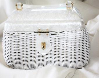 Vintage Purse Wicker Lucite, 1950s Purse Handbag Retro Mod, White Lucite Purse