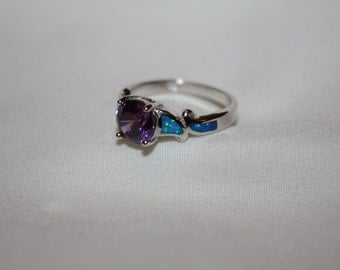 Vintage Blue Opal Ring, Sterling Amethyst Ring, Jewelry Statement Promise Engagement Ring