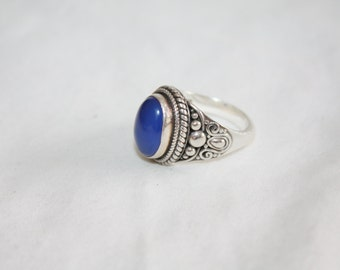 Vintage Chalcedony Ring, Sterling Chalcedony Ring, Gemstone Jewelry, Vintage Boho Jewelry, 1980s Statement  Sterling Silver Jewellry