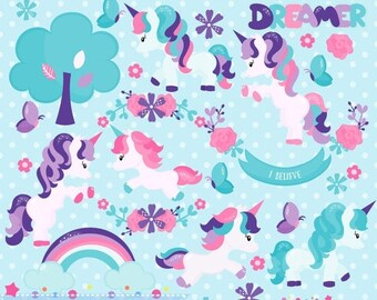 80% OFF - INSTANT DOWNLOAD, unicorn forest clipart and vectors for personal and commercial use