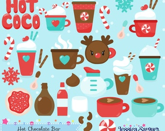 INSTANT DOWNLOAD - Hot Chocolate Clipart or Christmas Vectors for personal and commercial use