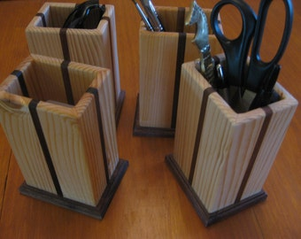 Beautiful Handcrafted Solid Wood Pencil Holder made in America