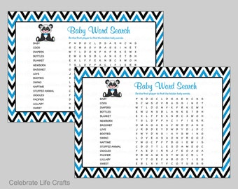 Baby Word Search Baby Shower Game - Printable Baby Games - Baby Boy - Turquoise Blue and Black Panda Theme - Answer Key Included  B20003