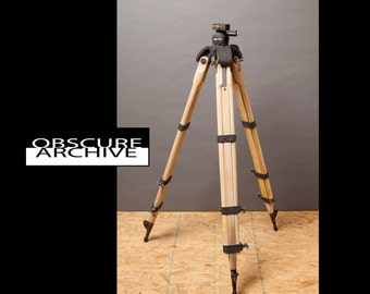 MINOLTA TRIPOD - Wood Legs - Heavy Duty for Large Format Film or Movie Cameras - Circa 1940's Japan