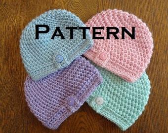 Crochet Baby Beanie PATTERN Herringbone Button Baby Beanie Hat Newborn Preemie