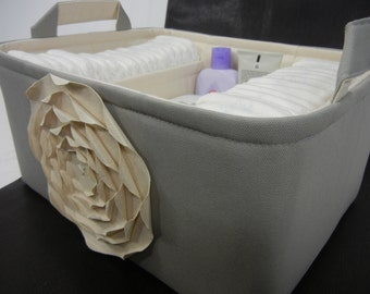 """Ex Large-Diaper Caddy-14""""x 10""""x 7""""(CHOOSE  COLORS)Two Dividers-Fabric Storage Organizer-Baby Gift-Basket/Bin-""""Natural/Cream Rose on Grey"""""""