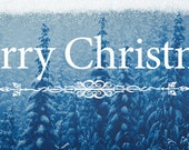 Merry Christmas - Facebook Timeline Cover For Your Personal Page -Winter Forest Snow Flocked Christmas Trees -Instant Download