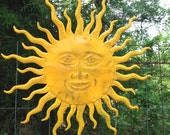 Bright Yellow Sun Face- Celestial Wall Decor - Indoor Outdoor - Metal Yard Art