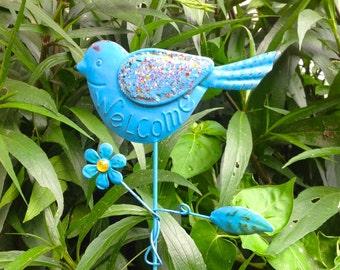 Metal Bird Garden/Flower Pot Stake - Blue Metal Yard Art - Welcome Stake - Window Box Housewarming Birthday
