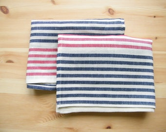 2 Kitchen -Tea - Dish Towels. Cotton - Linen Fabric - Red,  Navy Blue, Offhite Striped.
