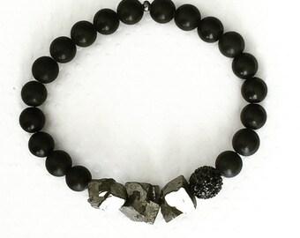 Mens bracelet. Handmade jewelry. Stretch bracelet. Pyrite bracelet. Black and silver bracelet. Unique mens bracelet. Sugarplum Gallery.