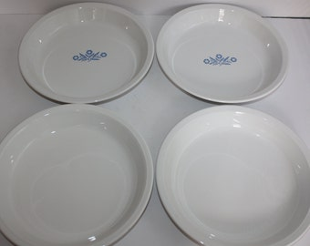 4 Vintage Corning Ware Blue Cornflower Pie Plates/Corningware Cornflower/White Corning Pie Plates