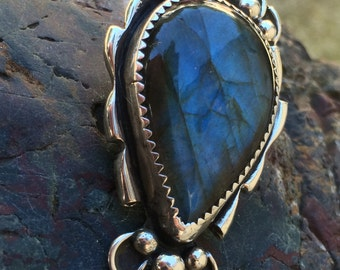 Labradorite and sterling silver pendant with a hide away bail on the back