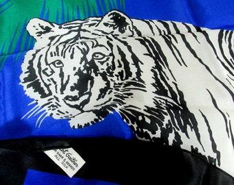 """SALE Vintage Designer Gant Gaither Tiger Silk Scarf  31"""" x 31"""" NOSWT"""