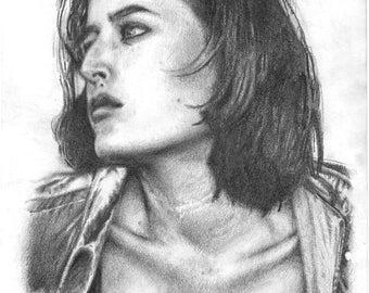 "Print - Gillian Anderson, original drawing - size 8"" x 12"""