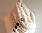 SALE Cream Infinity Knit Scarf with Brown Buttons Neck Warmer Ivory White Scarves Women Girls Accessories