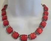 Vintage Moonstones Coro Choker Necklace Red Moonstone Goldtone Metal Necklace circa 1940s